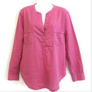 Lou Grey Popover Top Long Sleeves Pink M